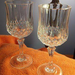 2 Crystal Cristal D'Arques Longchamp Wine Glasses